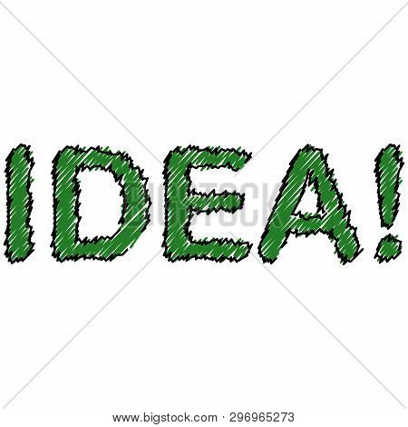 Creative Illustration Of Idea Word Lettering Typography. Creative Idea Concept. Thin Line Art Style