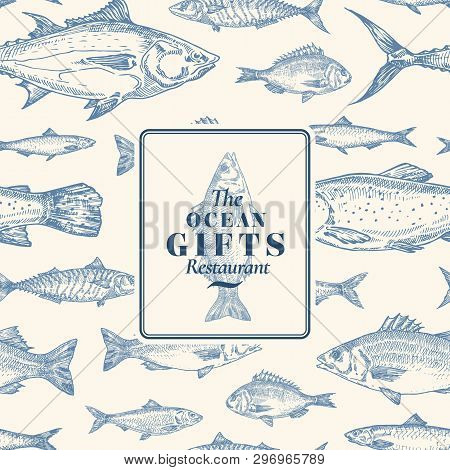 Hand Drawn Vector Seamless Pattern. Fish Package Card Or Cover Template With Sea Bass Ocean Gifts Em