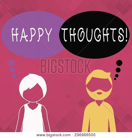 Word Writing Text Happy Thoughts. Business Concept For Good Idea Opinion Produced By Thinking Or Occ
