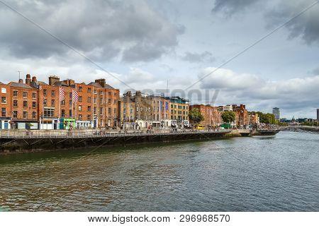 View Of Liffey River In Dublin, Ireland