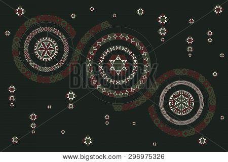 Circular Pattern With Geometric Elements. Deep Malachite Colours.