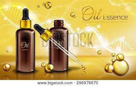Oil Essence In Brown Glass Bottles With Pipette And Yellow Liquid In Droplets, Spots. Oily Cosmetics
