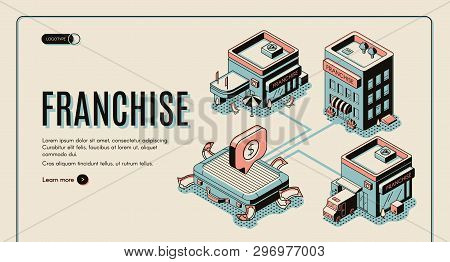 Franchise Business Start Isometric Banner On Retro Colored Background. Small Enterprise, Company, Sh
