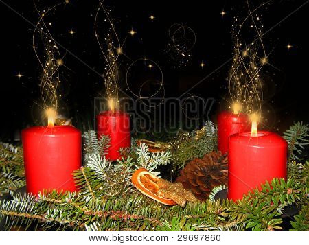 Advent wreath at Christmas