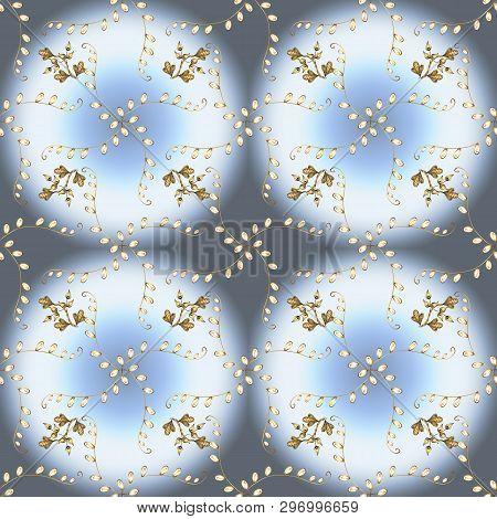 Vector Golden Floral Ornament Brocade Textile And Glass Pattern. Seamless Golden Pattern. Neutral, G