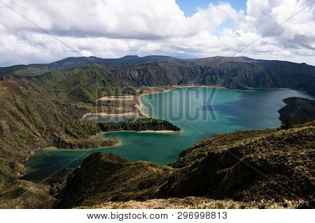 Great View Of Lake In The Mountain. Dramatic And Picturesque Scene. Ponta Delgada. Sao Miguel. Azore
