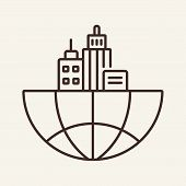 Global office line icon. Metropolis, urbanism, main office. Global concept. Vector illustration can be used for topics like business, geography, city poster