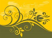 Abstract gentle vegetative pattern on a grunge yellow background. poster