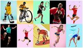 Sport collage about athletes or players. The tennis, running, badminton, rhythmic gymnastics, volleyball, boxing, handball, ice hockey, soccer football, cycling concept. Fit women and men in action or motion over trendy color background. poster