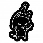 quirky cartoon icon of a cat hissing wearing santa hat poster