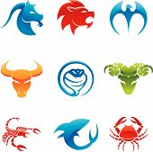 Glossy logos of 9 different animals in various colours poster
