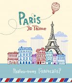Eiffel tower in Paris, post card in doodle style poster