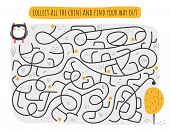 Cute rebus, test, activity, logic quest for kids. Funny labyrinth, puzzle with owl, tree, path. poster