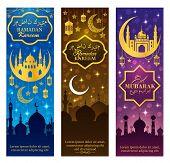 Ramadan Kareem and Eid Mubarak vector greeting banners of Muslim mosques with crescent moon, stars, arabic lanterns or ramazan lamps. Islam religious holiday celebration design poster