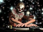 Scary Clown DJ. A scary clown dj is in the House and mixing up some Halloween horror. Turntables with vinyl albums. poster
