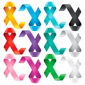 Big Set of Awareness Ribbons. Multicolored symbols of support or solidarity for many advocacy groups. The meaning behind an awareness ribbon depends on its colors and pattern. Isolated on white background poster