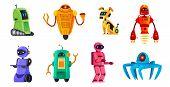 Cartoon robots. Robotics bots, robot pet and robotic android bot characters technology vector illustration set poster