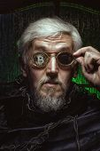 Portrait of an old man with bitcoin in glasses, the personification of a stockbroker. poster