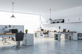 White Brick Office With White Shelves