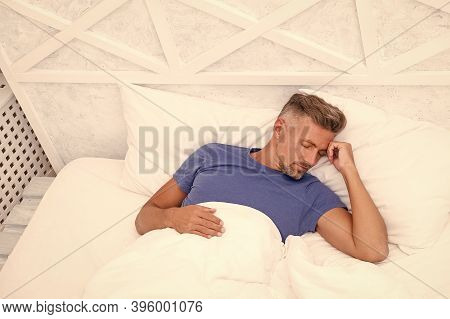 Need More Rest. Peaceful Mature Man Relaxing. Good Sleep Is Reachable Dream. World Sleep Day. Benefi