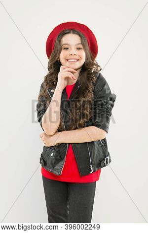 Girl Curly Hair Wear Leather Jacket. Little Rock Star Concept. Talent Contest. Brutal Style Tender G