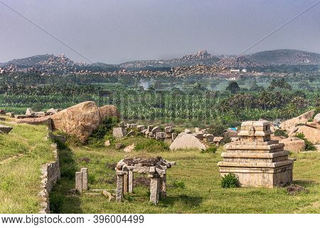 Hampi, Karnataka, India - November 4, 2013: Sunset Hill Aka Hemakatu. Down Hill Are Lots Of Temple R