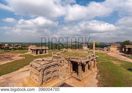 Hampi, Karnataka, India - November 4, 2013: Sunset Hill Aka Hemakatu. Closeup Of Temple Ruins Under