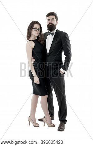 Woman Elegant Lady And Bearded Gentleman Black Tuxedo With Bow Tie. Formal Event. Dress Code Rules.