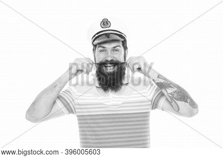 Wear Moustache And Look Like Real Man. Happy Seaman Twirl Moustache. Bearded Man With Moustache Isol
