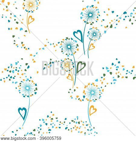 Dandelion Flowers Original Vector Seamless Pattern. Wallpaper Print Design. Elegant Dandelion Blowin