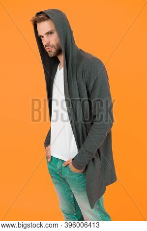 Casual But Stylish. Stylish Man Yellow Background. Handsome Guy Wear Stylish Hoodie. Fashion Trends