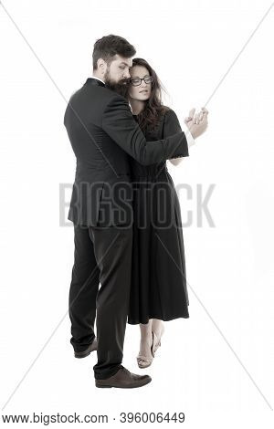 Cultural Entertainment. Couple In Love Romantic Dance. Romantic Evening Date With Dances. Dancing Mu