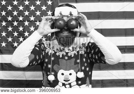 Party Like Patriot. Happy Santa Make Glasses With Balls. Bearded Man Enjoy Santa Claus Party. Patrio