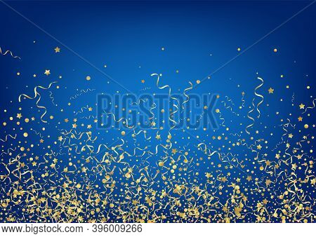 Gold Star Fun Vector Blue Background. Swirl Serpentine Invitation. Ribbon Shiny Poster. Yellow Happy