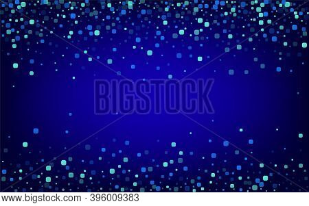 Turquoise Particle Celebration Blue Vector Background. Carnaval Confetti Banner. Abstract Rhombus Te