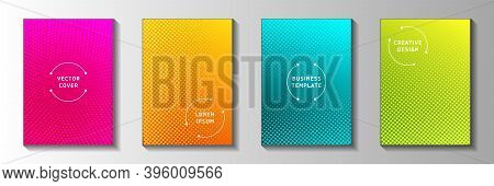 Elegant Dot Screen Tone Gradation Title Page Templates Vector Set. Scientific Journal Faded Screen T
