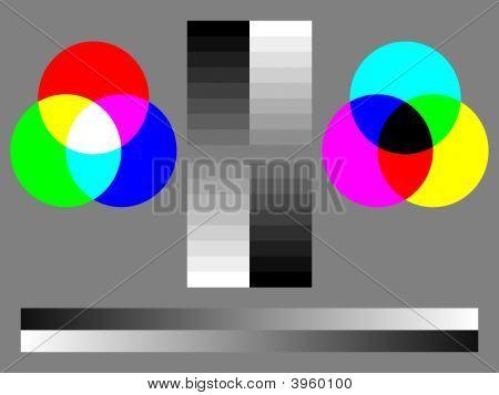 Color Test Chart - Rgb, Cmyk, 16-Step Grey, Smooth Grey