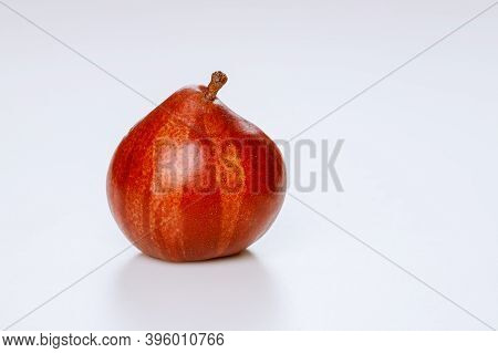 Red Pear Isolated On White Background. Produce Product.