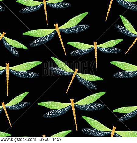 Dragonfly Simple Seamless Pattern. Spring Dress Textile Print With Darning-needle Insects. Garden Wa