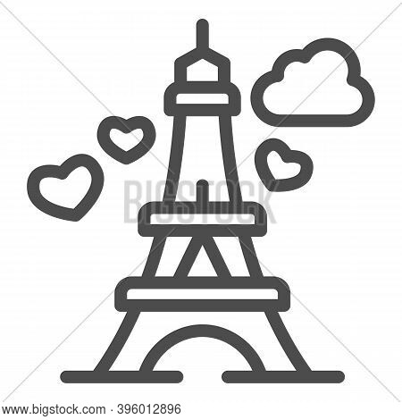 Eiffel Tower With Heart Line Icon, Valentine Day Concept, Romance Travel Sign On White Background, P