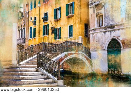 Venetian street and canals. Artistic picture in paining style Venice, Italy
