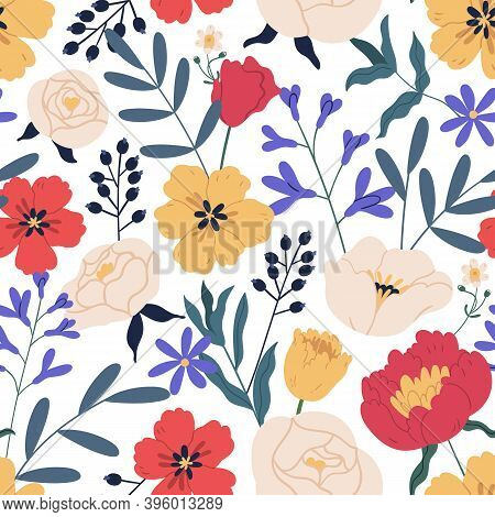 Gorgeous Seamless Floral Pattern With Eucalyptus, Peony And Roses. Repeatable Botanical Backdrop Wit