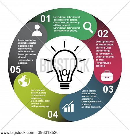 5 Steps Vector Element In Five Colors With Labels, Infographic Diagram. Business Concept Of 5 Steps