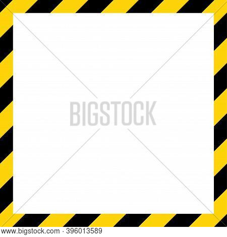 Black And Yellow Diagonal Line Striped. Blank Vector Illustration Warning Background. Hazard Caution