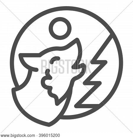 Wolf Howling At Moon Near Tree Line Icon, Halloween Concept, Predator In Forest Sign On White Backgr