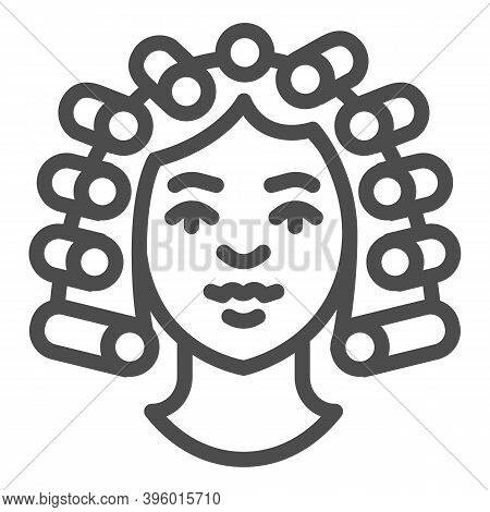 Hair Rollers On Girl Head Line Icon, Makeup Routine Concept, Hairdresser Salon Sign On White Backgro