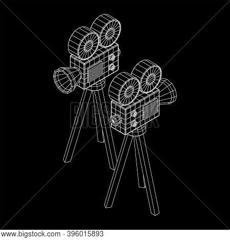 Polygonal Camera Projector. Movie Time. Show Film Cinema Festival Concept. Wireframe Low Poly Mesh V