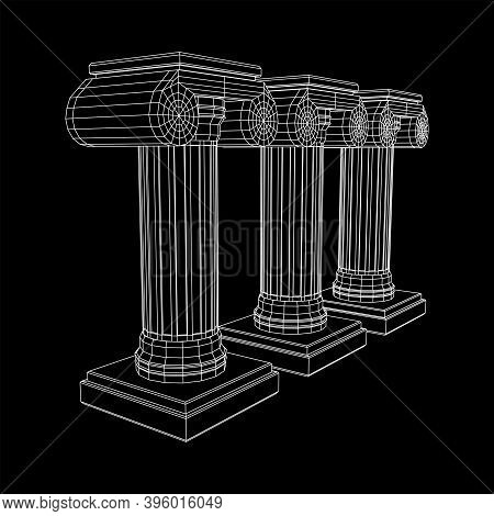 Greek Ionic Column. Ancient Pillars Roman Antique Architecture Construction Decoration. Wireframe Lo