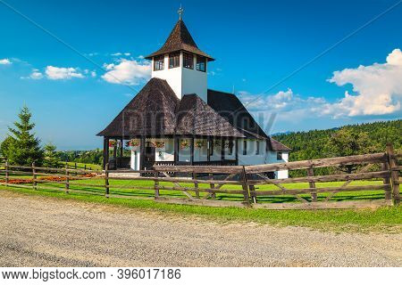 Cozy Pilgrimage Destination And Traditional Chapel In The Garden, Bran Monastery, Transylvania, Roma
