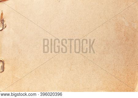 Texture Of Beige Old Paper With Rust Clip, Crumpled Background. Vintage Brown Grunge Surface Backdro
